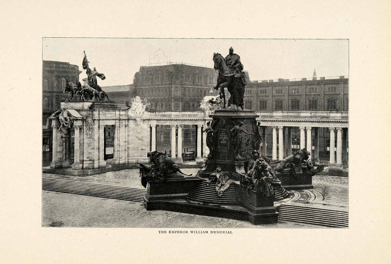 1910 Print Statue Berlin Kaiser William Memorial Tririga Equestrian XGM2
