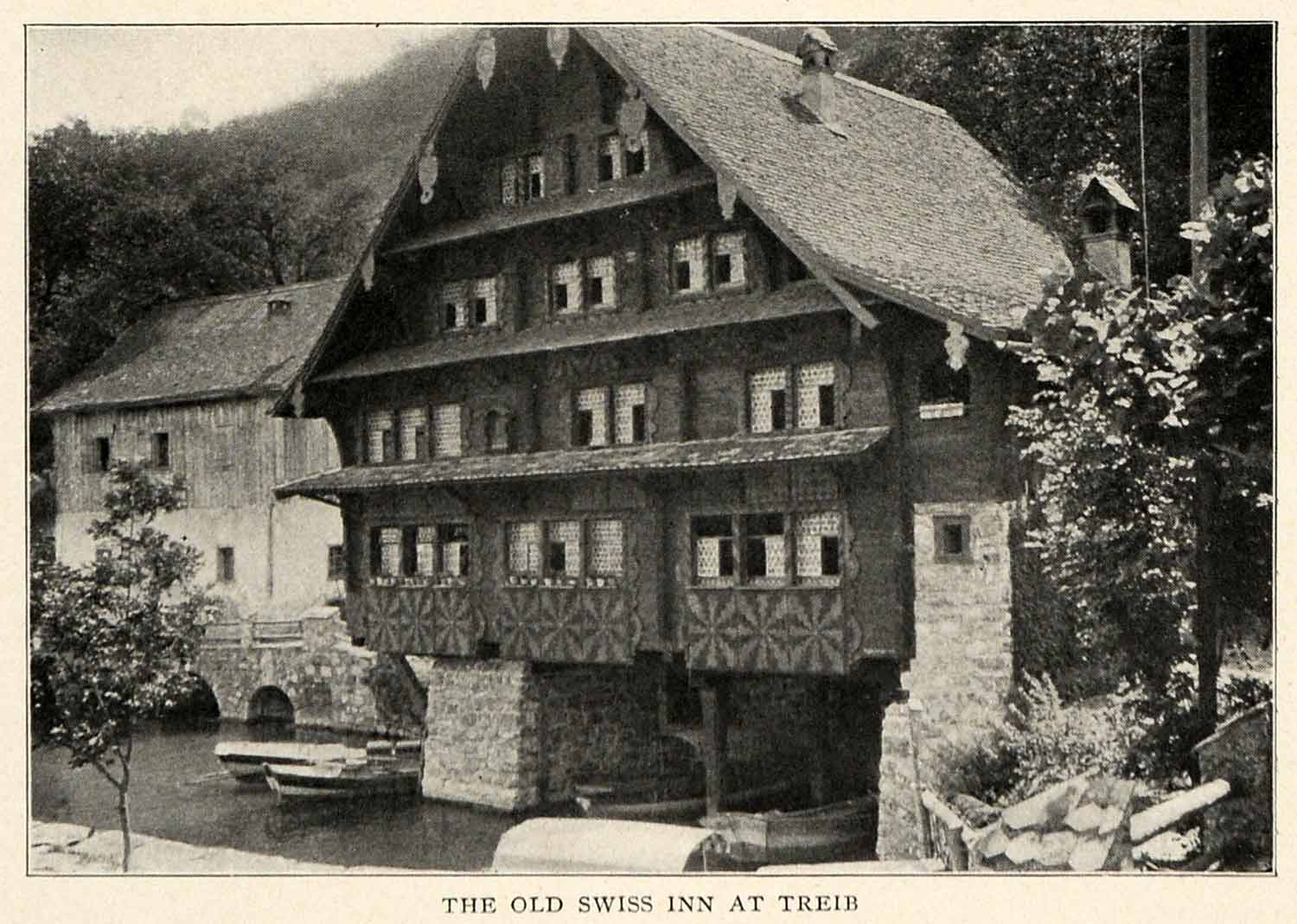 1910 Print Switzerland Old Swiss Inn Haus Zur Treib Medieval Architecture XGM2