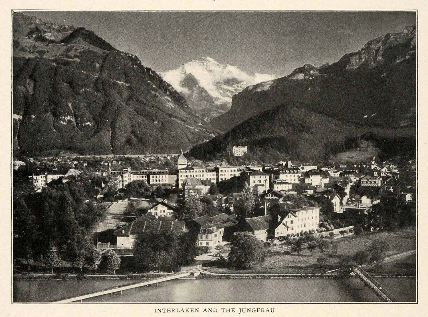 1910 Print Interlaken Mount Jungfrau Switzerland Bern Aarmhule Lake Brienz XGM2