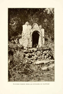 1908 Print Shrine Christianity Offering Flowers Mexico Wayside Road Cross XGMA3