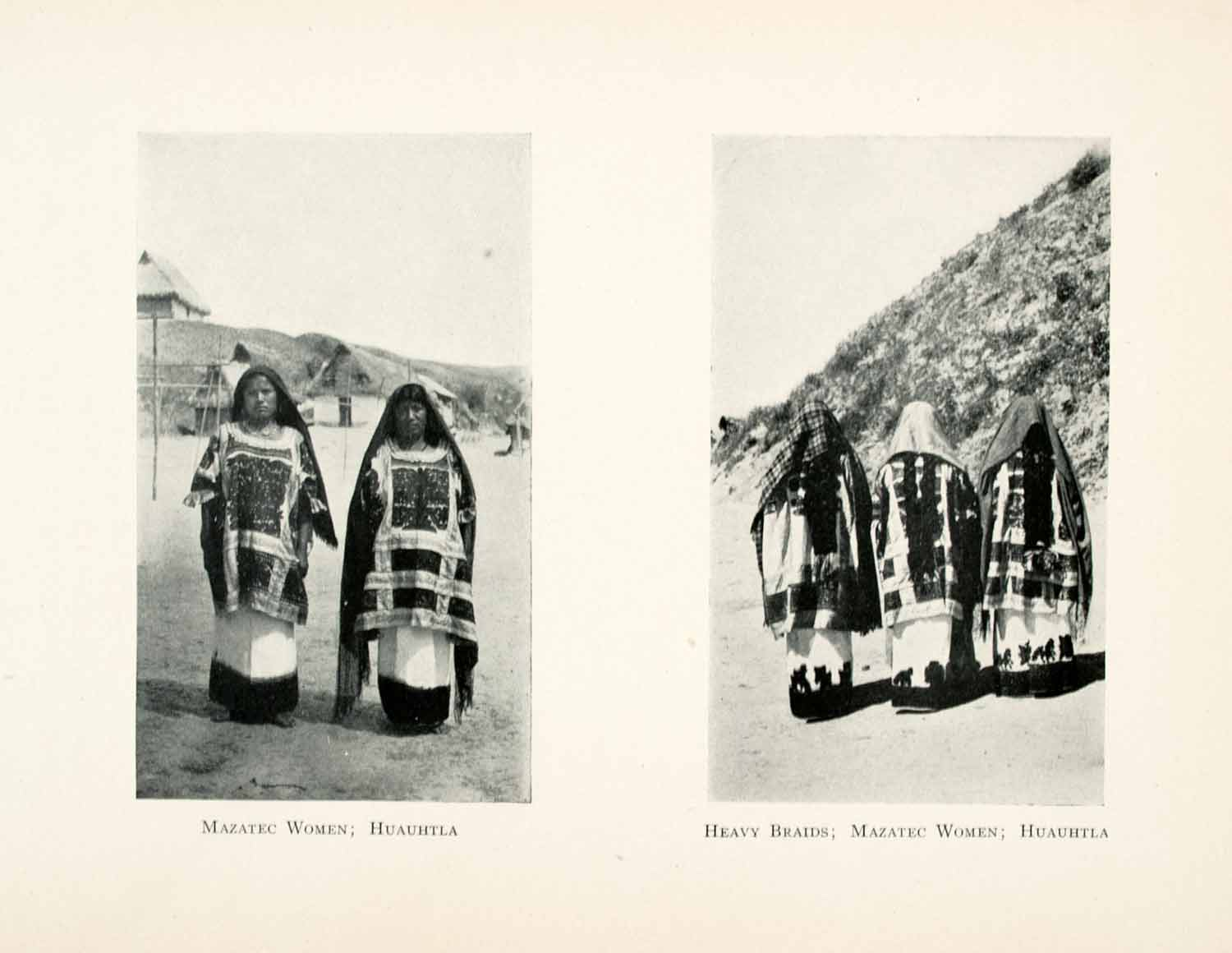 1908 Print Mazatec Women Huauhtla Costumes Indigenous People Tribal Mexico XGMA4
