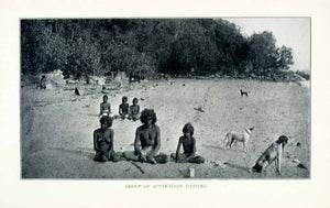 1902 Print Australian Aborigines Natives Indigenous People Beach Dogs XGMA6