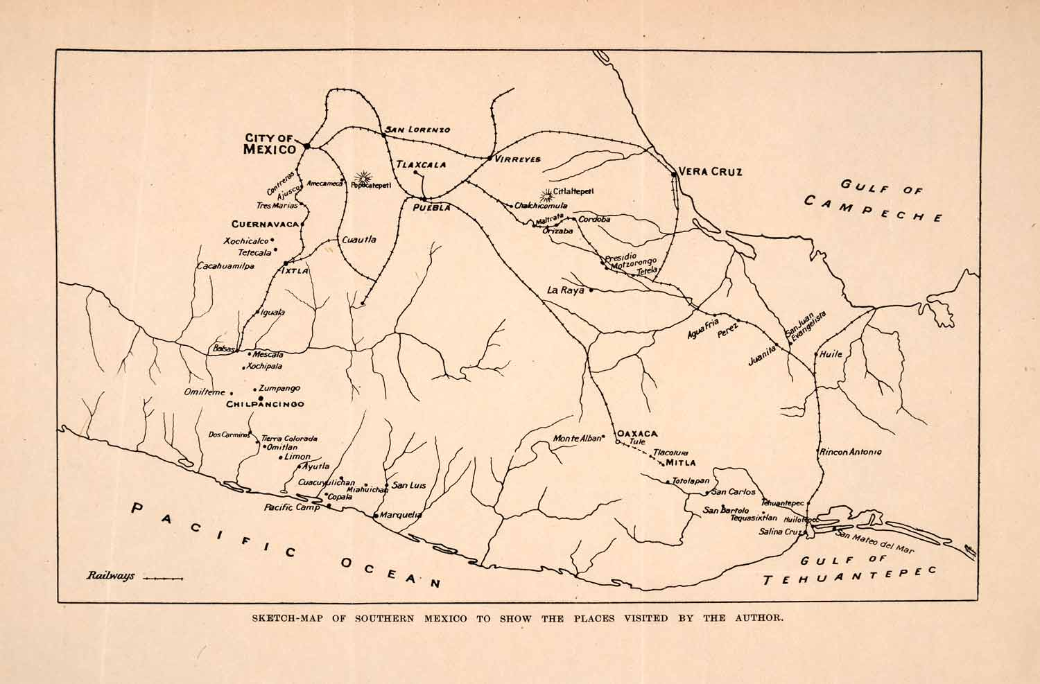 1908 Lithograph Sketch Map Southern Mexico Mountains Rivers Cities Water  XGMA7