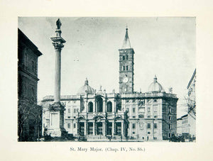 1908 Print Basilica Church Saint Mary Major Maria Maggiore Rome Italy XGMB7