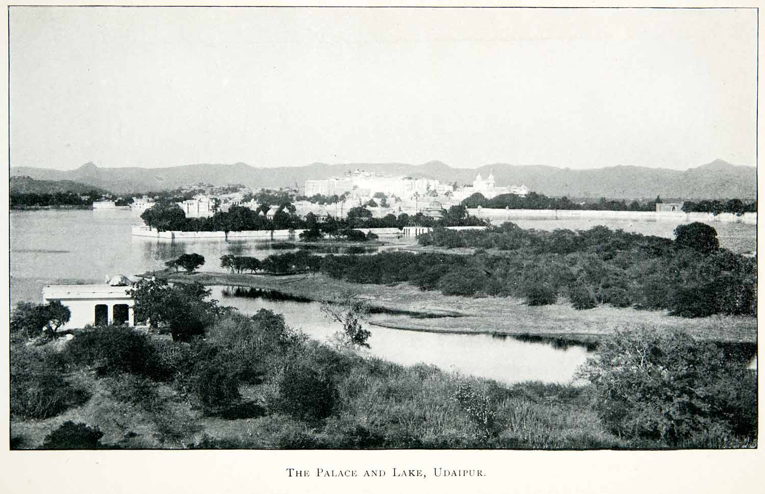1906 Print Palace Lake Udaipur India Royalty Cityscape Landscape Waterway XGMB8