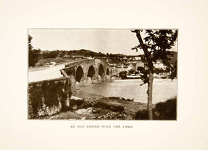 1907 Print Bridge Tiber River Ancient Historical Umbria Quaint Italy XGMB9