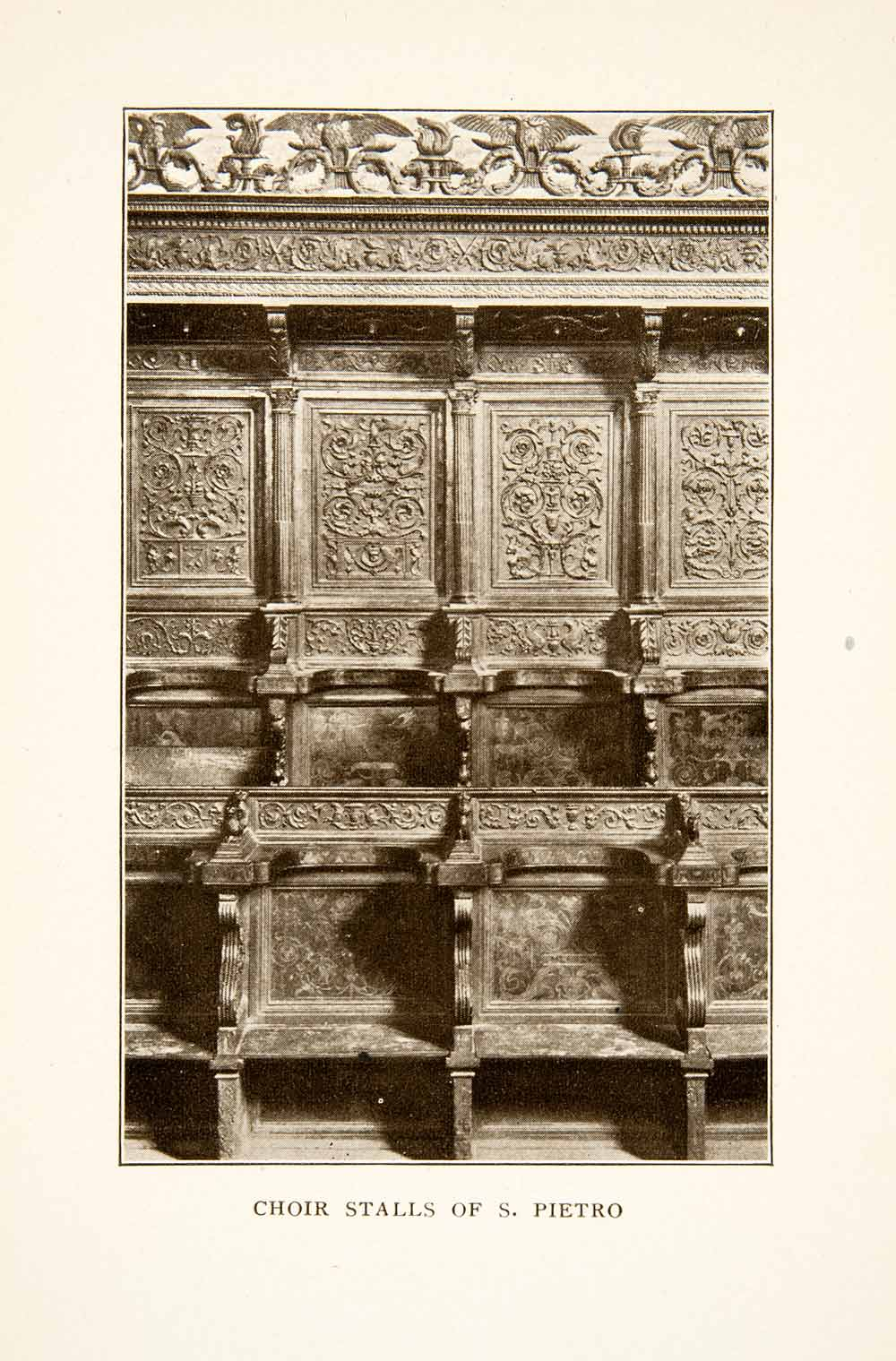 1907 Print Choir San Pietro Detail Woodwork Historic Perugia Umbria Italy XGMB9