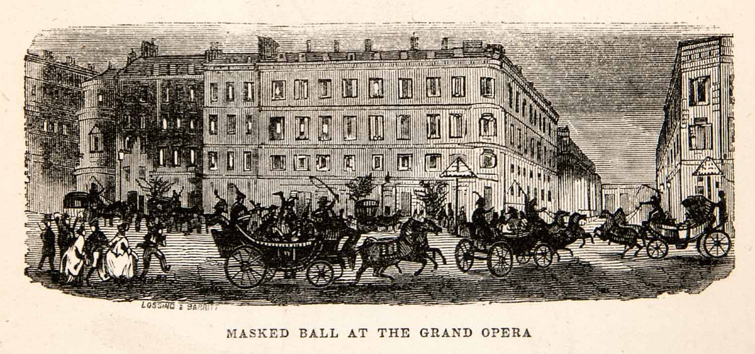 1856 Wood Engraving Masked Ball Party Grand Opera Paris France Cityscape XGMC1