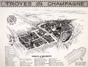 1941 Photogravure Map Geyer Toyes Champagne France Seine River Cathedral XGMC8