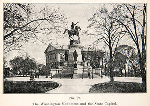 1908 Print Washington Monument State Capital Equestrian Virginia Thomas XGMC9