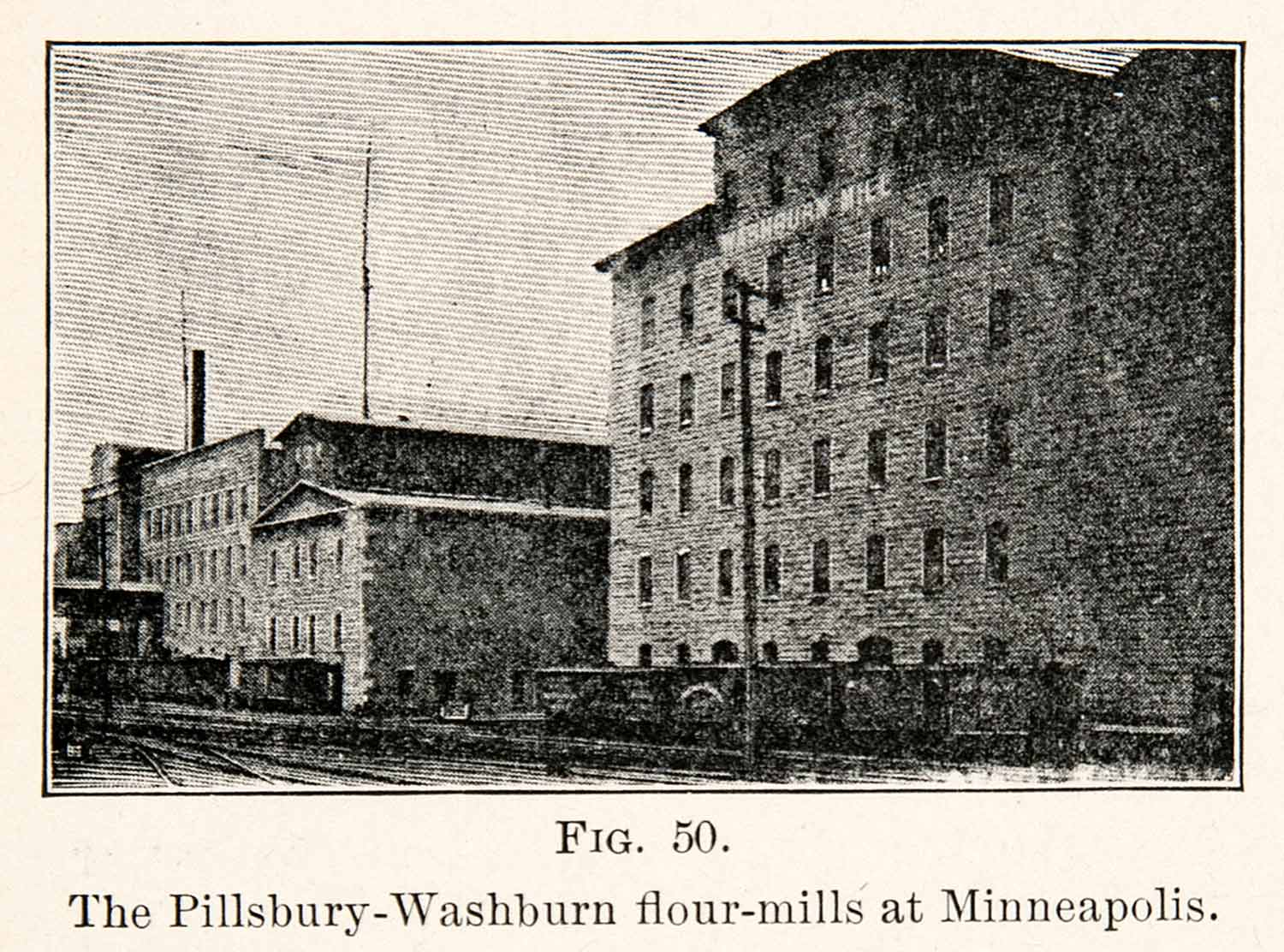 1908 Print Pillsbury Washburn Flour Mills Minneapolis Minnesota St Anthony XGMC9