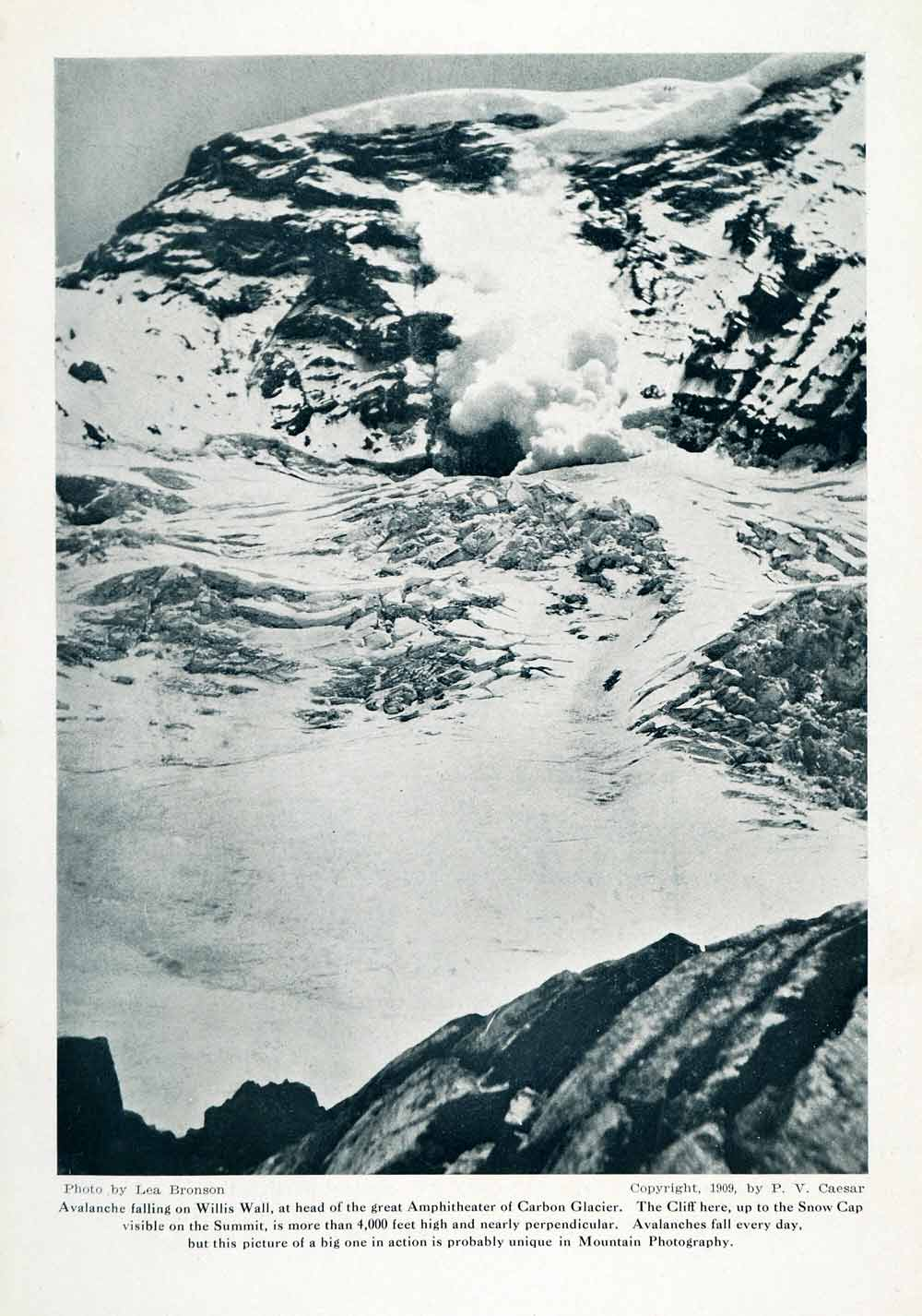 1910 Print Avalanche Willis Way Amphitheater Carbon Glacier Snow Cap Summit XGN1