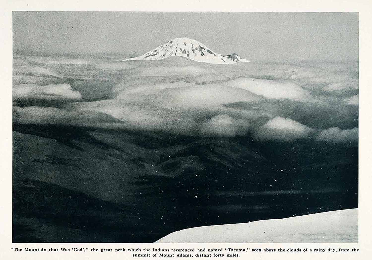 1912 Print Mount Rainier Tacoma Peak Summit Adams Washington Cascade XGN2