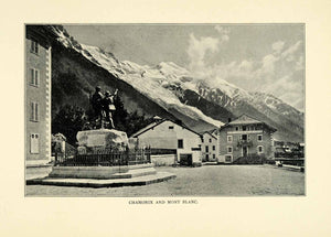 1901 Print Chamonix Mont Blanc City Buildings Statue Mountains Trees Street XGN3