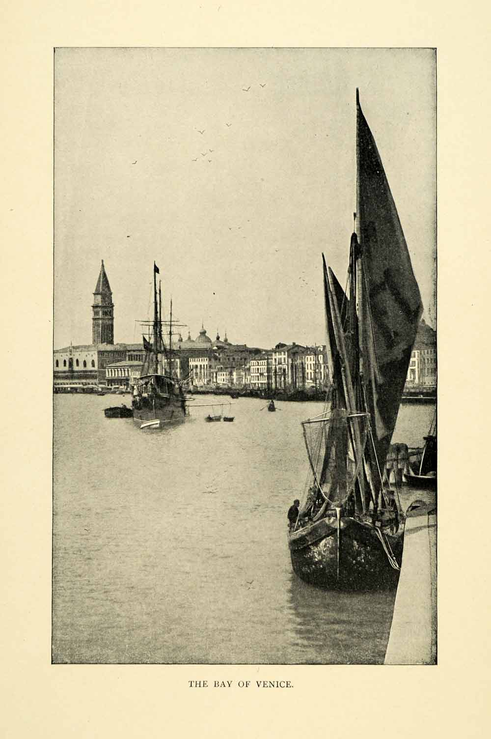 1901 Print Bay of Venice Waterways Canals Ships Cityscape Port Gondolas XGN3