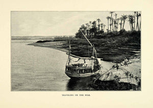 1901 Print Travel Nile River Egypt Africa Palm Trees Beach Vegetation XGN3