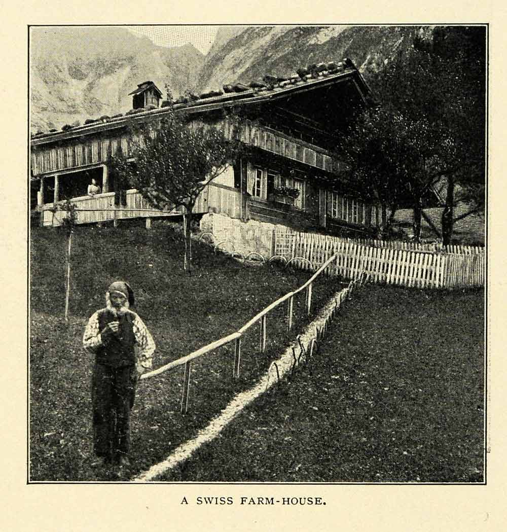 1901 Print Swiss Farmhouse Farmer Trees Mountains Fence Chalet XGN3