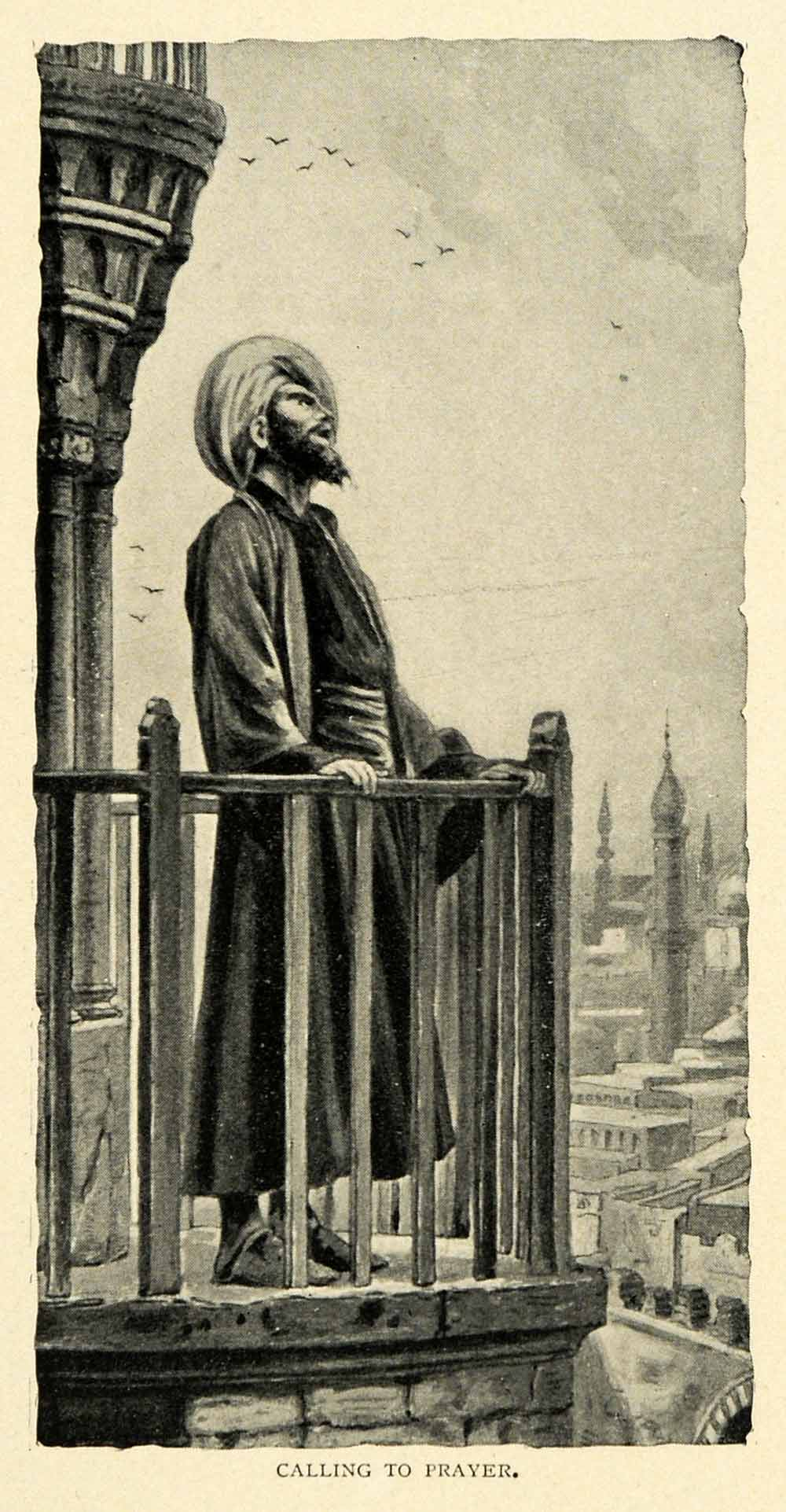 1901 Print Calling Prayer Religion Muslim Turkey Mosques Five Times Daily XGN3