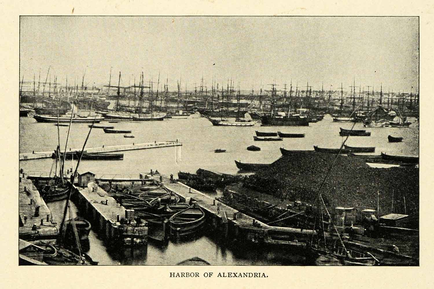 1901 Print Harbor Port Alexandria Egypt Waterway Ships Cargo Docks XGN3