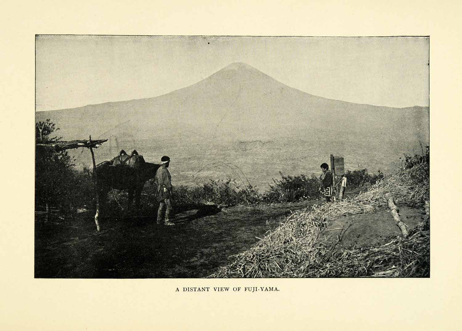 1900 Print Mount Fuji-Yama Japan Workers Horse Scenery Distant Natives XGN4
