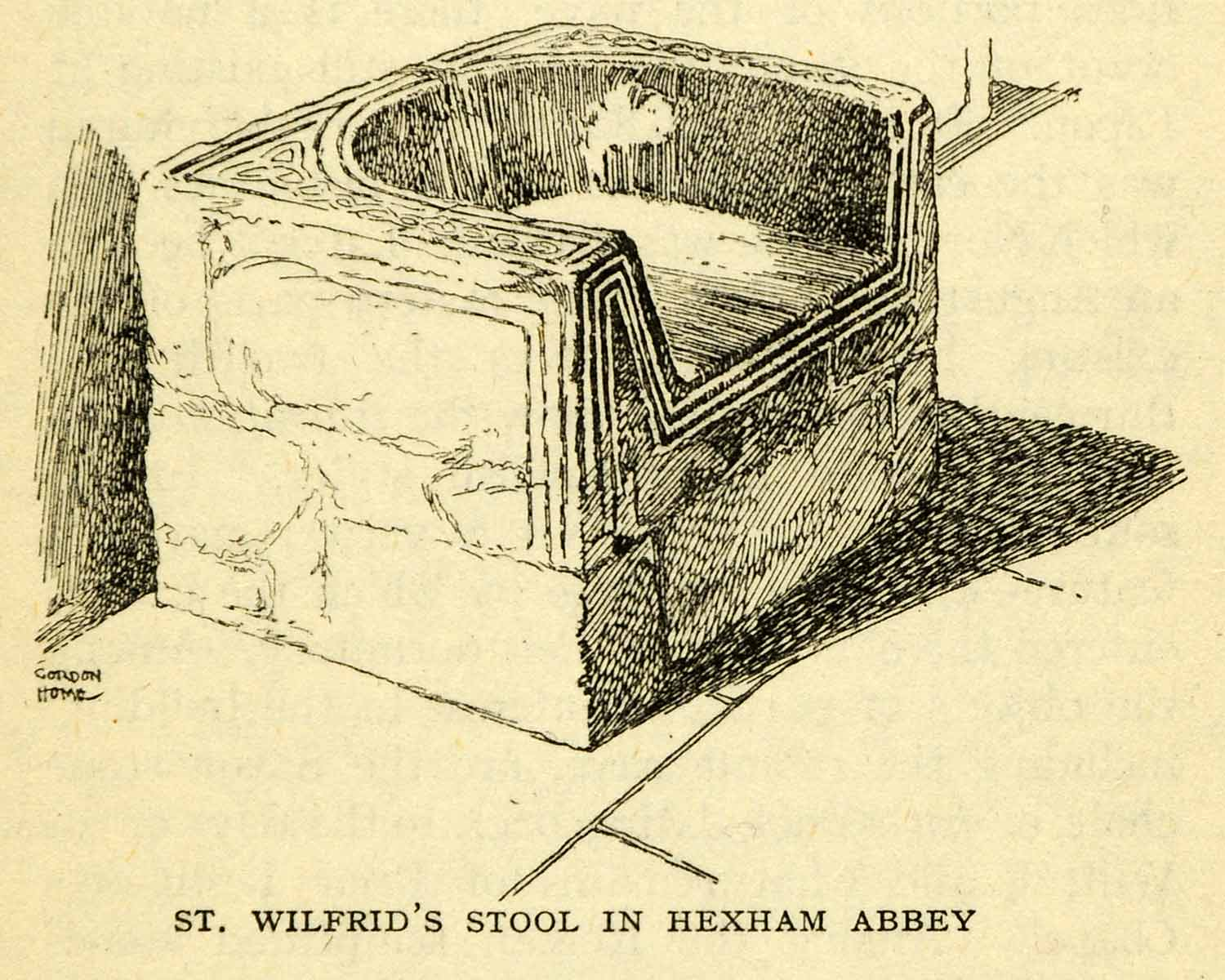 1924 Offset Lithograph Gordon Home Wilfrid Stool Hexham Abbey Bishop XGN5
