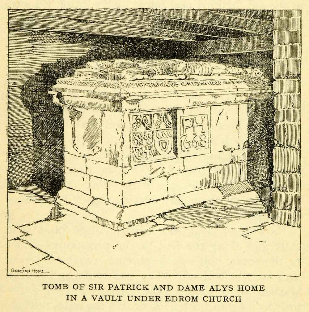 1924 Offset Lithograph Gordon Home Tomb Patrick Dame Alys Home Edrom Church XGN5