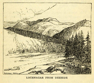 1924 Offest Lithograph Gordon Home Lochnagar Deeside Scotland Beinn XGN5