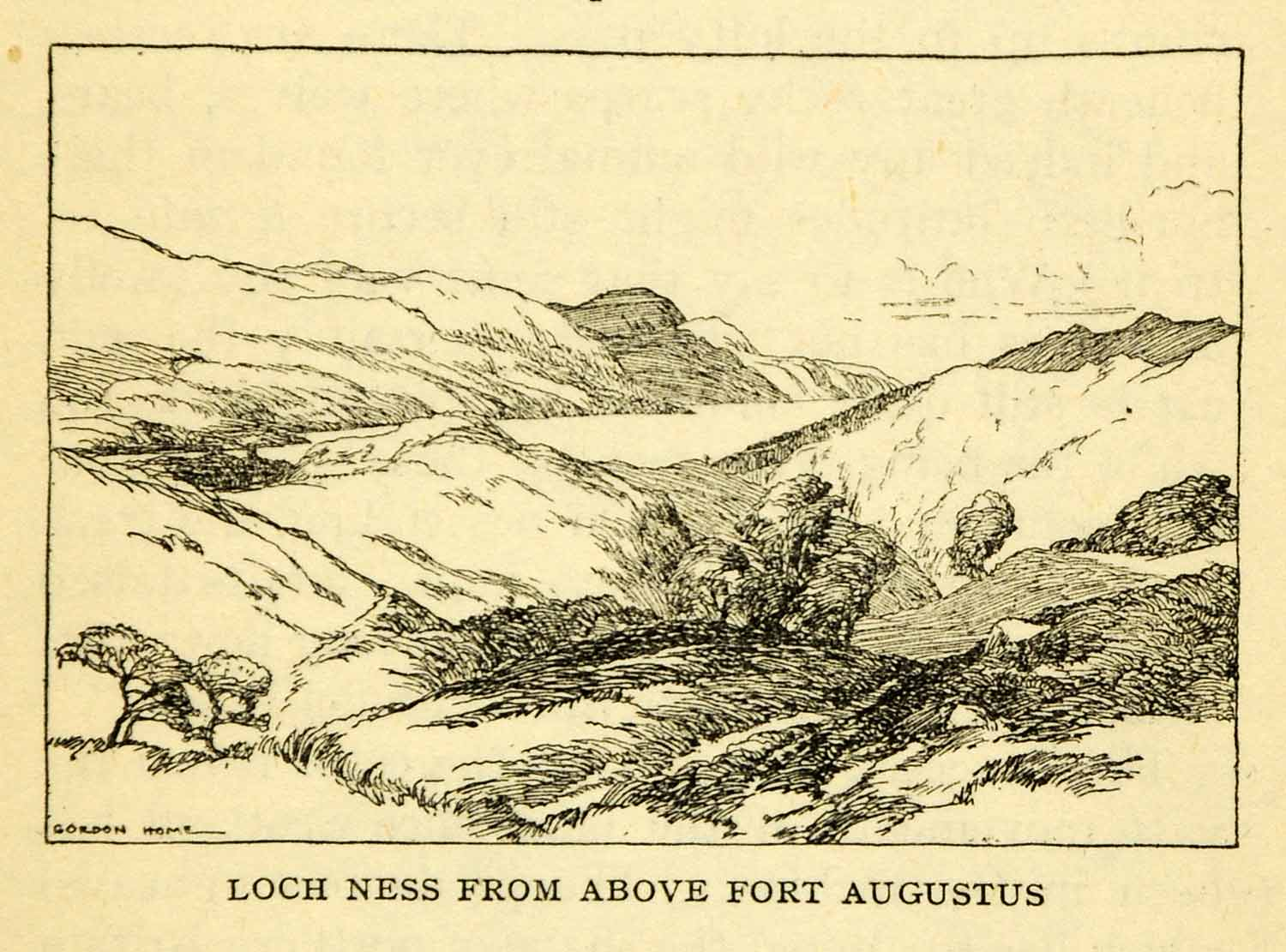 1924 Offset Lithograph Gordon Home Loch Ness Fort Augustus Scotland XGN5