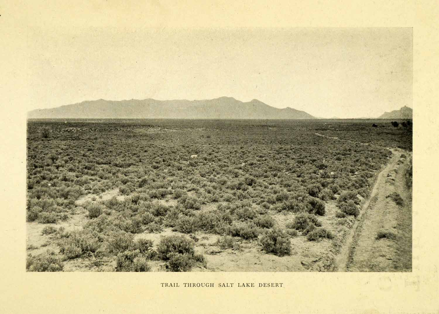 1912 Print Great Salt Lake Desert Utah Trail Silver Island Mountain Range XGN7