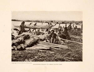 1913 Halftone Print Canada Dog Ribbed Indians Slave Lake Natives Canoe XGNA1