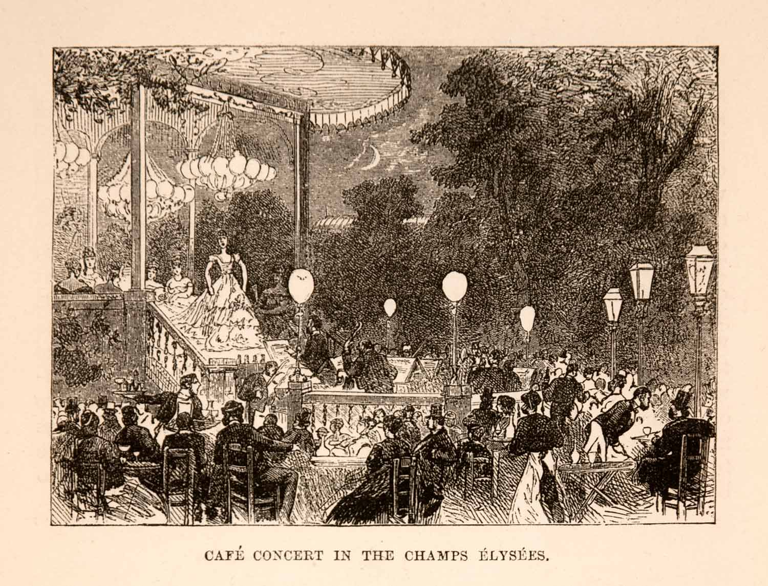 1882 Wood Engraving Cafe Concert Champs Elysees Evening Performance Paris XGNA8