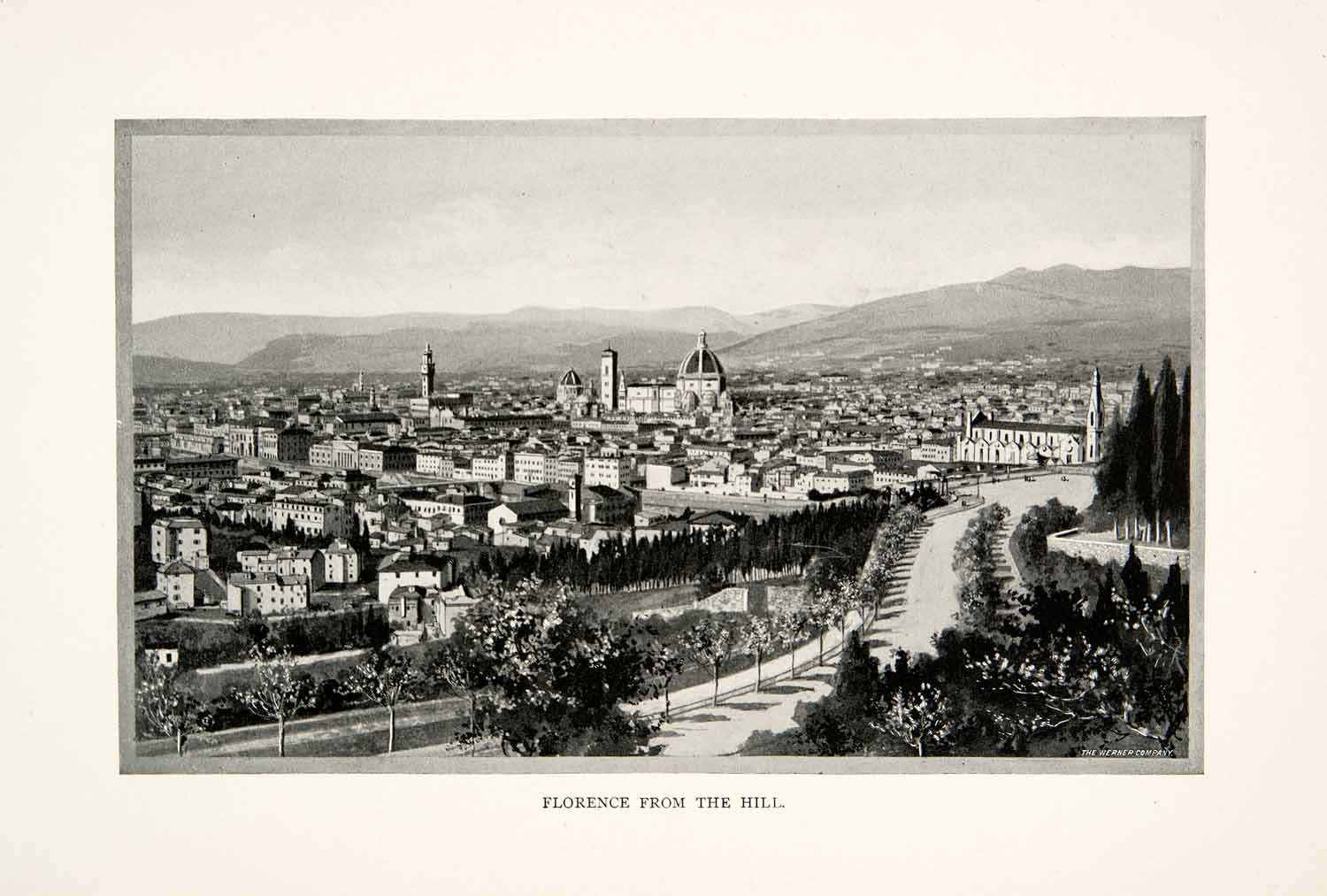 1902 Print Panoramic View Florence Italy Hill Cathedral Oltrarno District XGNB6