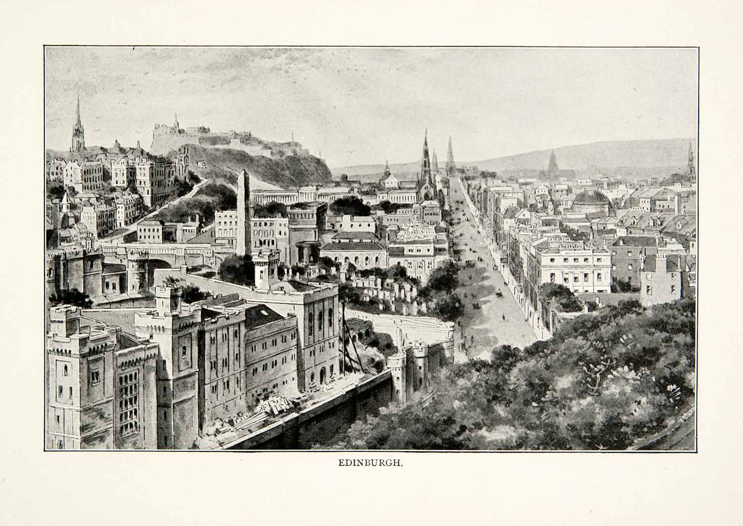 1902 Print Edinburgh Scotland Highlands United Kingdom Panorama Castle XGNB6