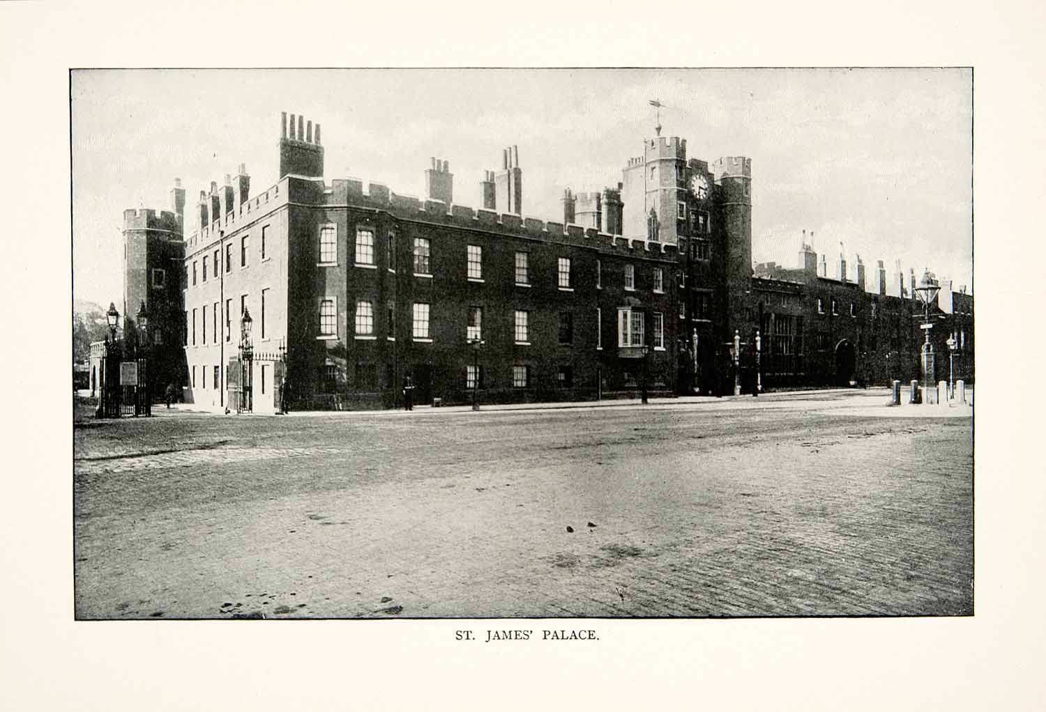 1902 Print St James Palace London England Pall Mall Park Royal Court XGNB6 - Period Paper