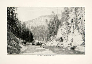 1902 Print Yellowstone National Park Gibbon River Road Street Paved XGNB6 - Period Paper