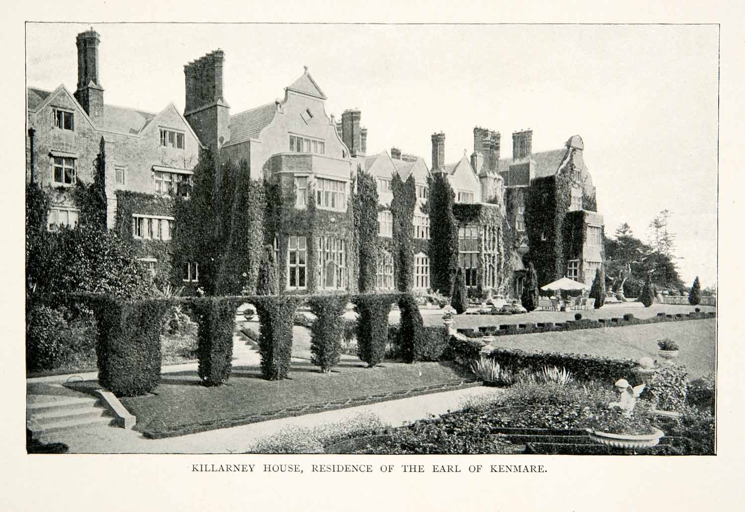 1902 Print Kilarney House Earl Kenmare Architecture Mansion Gable Ireland XGNB7