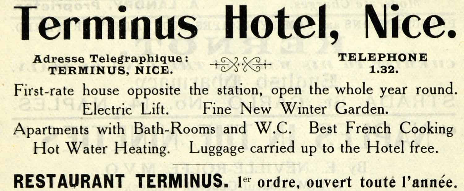 1908 Ad Terminus Hotel Nice France Restaurant Electric Lift Resort Winter XGO5