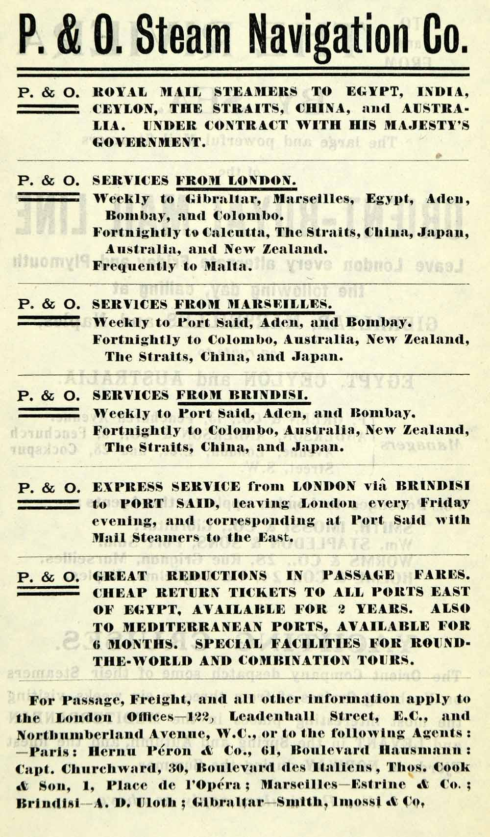 1908 Ad Peninsular Oriental Steam Navigation Royal Mail Steamer Services XGO5