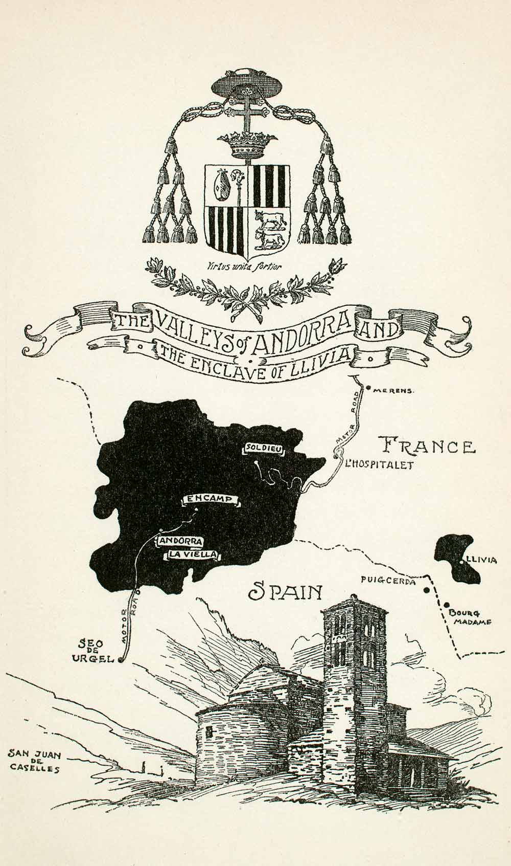 Map Of Spain France And Andorra.1932 Wood Engraving Andorra Enclave Llivia Spain France Map Merens Soldieu Xgoa7
