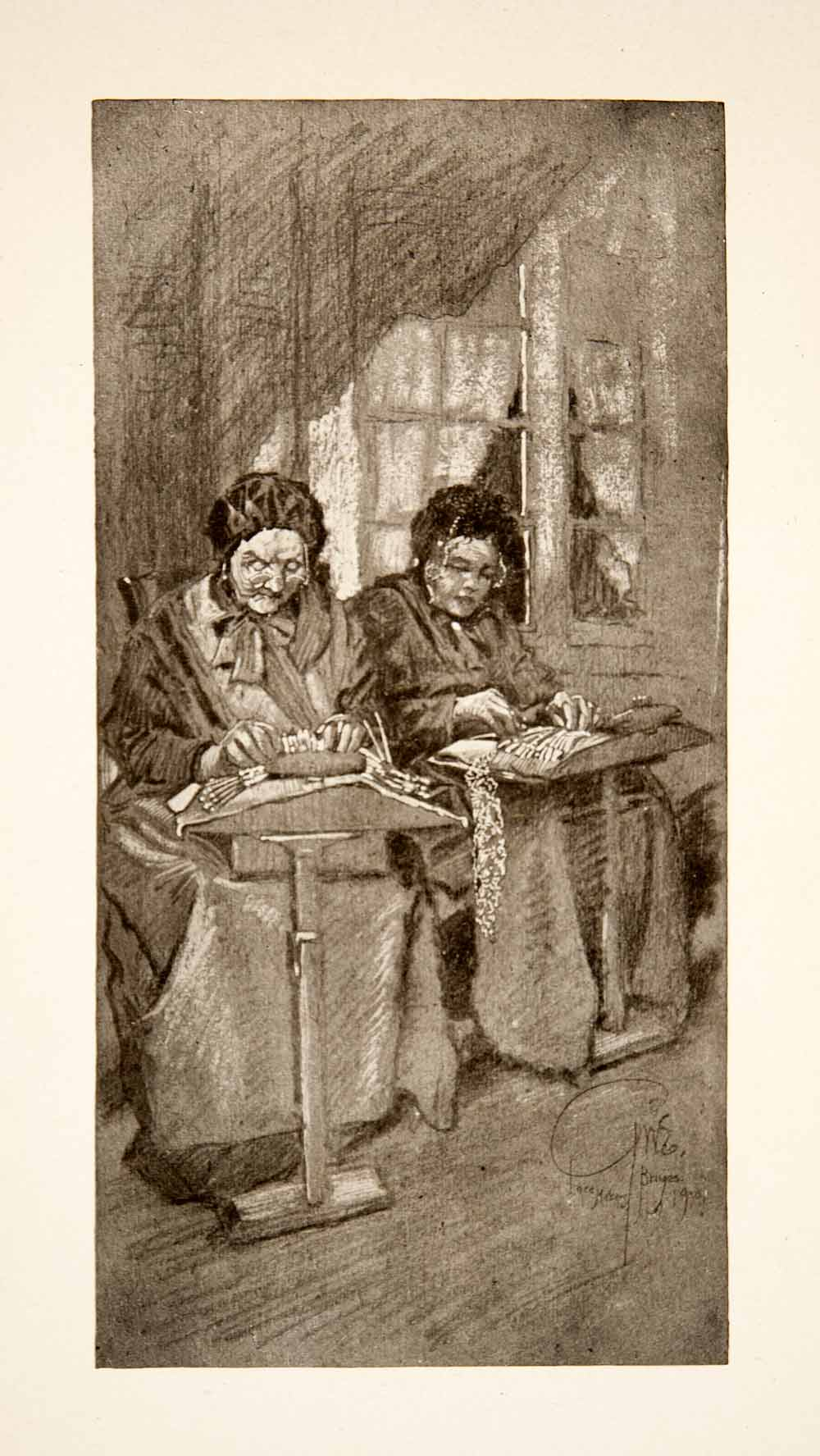 1911 Print Bruges Belgium Flemish Lacemakers Women Handicraft George XGOB6