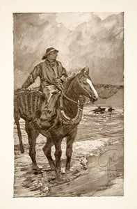1911 Print De Panne Belgium Shrimp Fisherman Horseback Riding George XGOB6