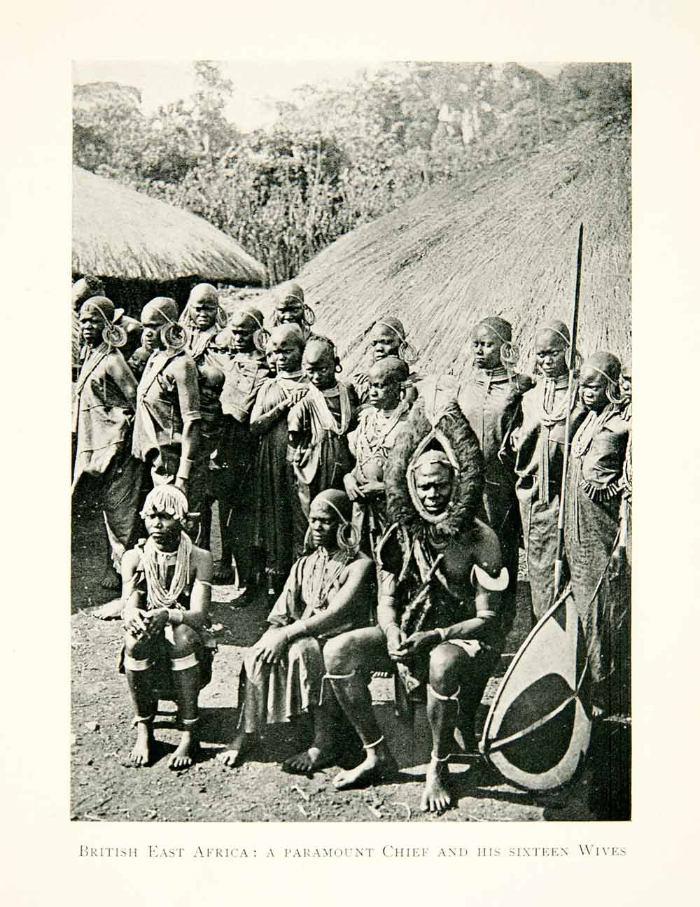 1915 Print Kenya Tribal Chieftain Africa Wives Polygamy Rural Thatch Hut XGOC6
