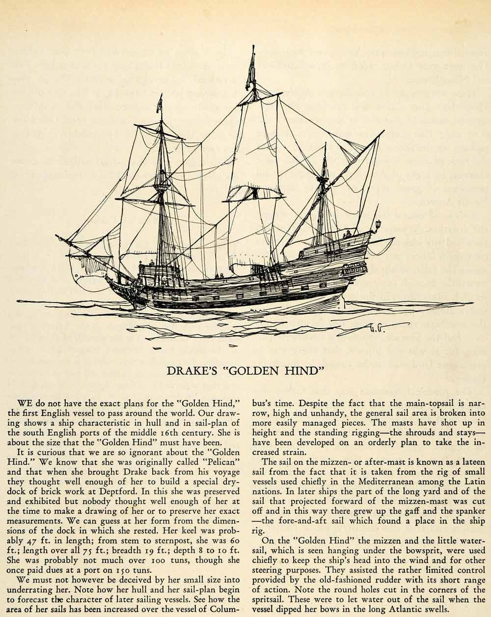 1935 Print Golden Hind Ship Mizzenmast Lateen Bowsprit Galleon Pelican XGP2