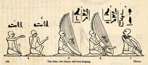 1854 Woodcut Ancient Egyptian Musical Instruments Hieroglyphics Musicians XGP5