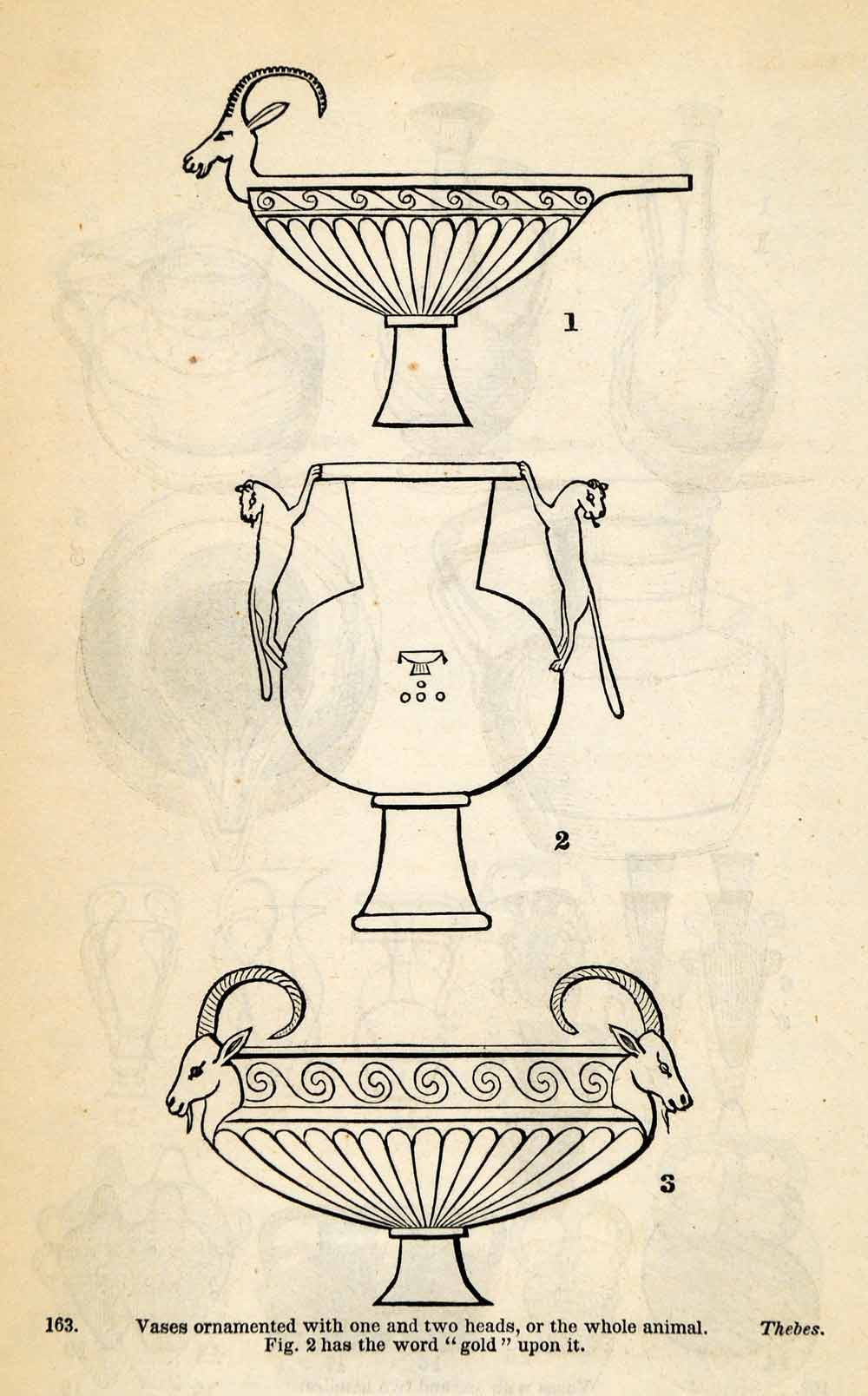 1854 Woodcut Ancient Thebes Egyptian Animal Vases Archaeological Artifacts XGP5