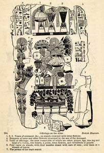 1854 Woodcut Ancient Egyptian Tomb Altar Offerings Hieroglyphics XGP5