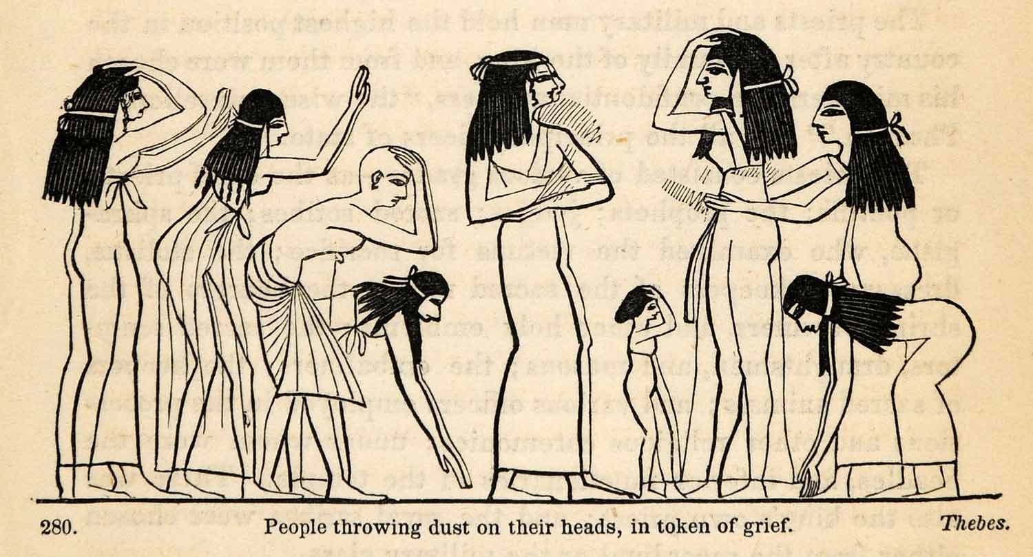 1854 Woodcut Ancient Thebes Egyptian Grief Dust Hair Tradition Archaeology XGP5