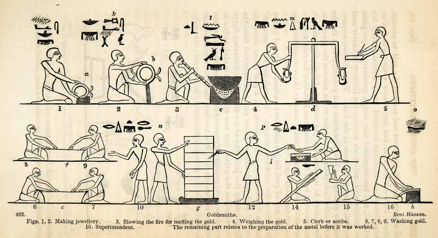 1854 Woodcut Ancient Egyptian Jeweler Goldsmith Scribe Hieroglyphics XGP5