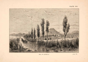 1883 Wood Engraving Hill Estrella Mexico Landscape River Thomas XGPA4