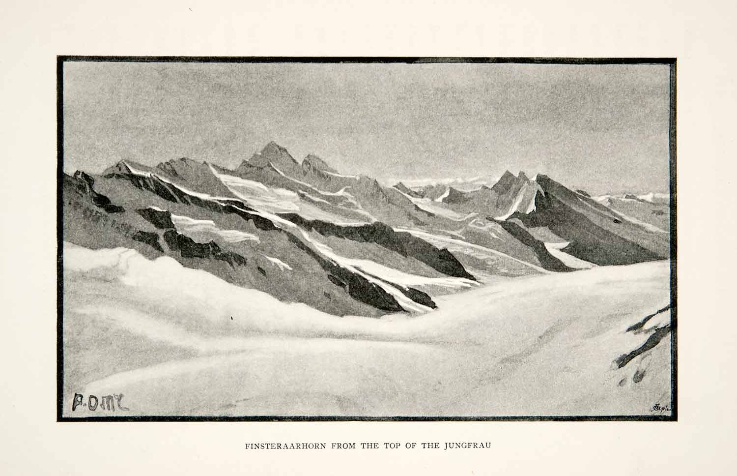 1895 Print Bernese Alps Mountains Finsteraarhorn Jungfrau Peak Switzerland XGPB1